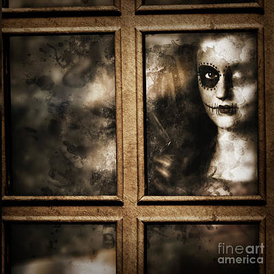 Haunted House Photograph - Scary Murderer Standing By The Window With Handgun by Jorgo Photography - Wall Art Gallery