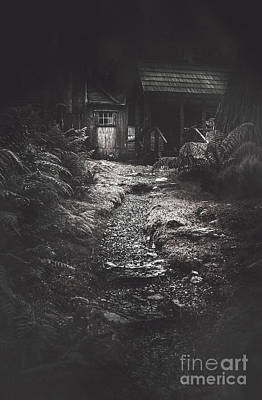Scary Old Abandoned Hut In Creepy Deserted Forest Print by Jorgo Photography - Wall Art Gallery