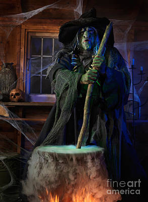 Haunted House Photograph - Scary Old Witch With A Cauldron by Oleksiy Maksymenko