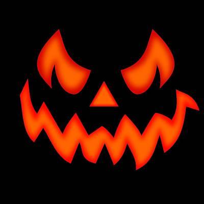 Halloween Digital Art - Scary Pumpkin Face by Martin Capek