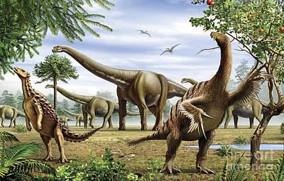Reaching Up Digital Art - Scelidosaurus, Nothronychus by Mohamad Haghani