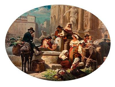 Scene From The Marketplace Print by Robert Alexander