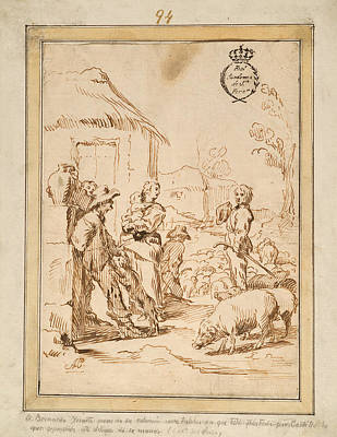 Drawing - Scene With Peasants by Antonio del Castillo y Saavedra