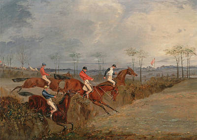 Henry Alken Painting - Scenes From A Seeplechase. Another Hedge by Henry Thomas Alken
