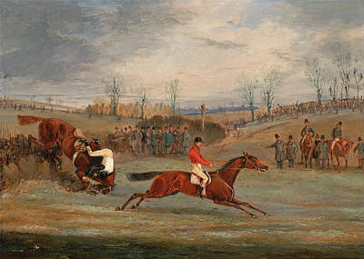 Henry Alken Painting - Scenes From A Seeplechase.near The Finish by Henry Thomas Alken