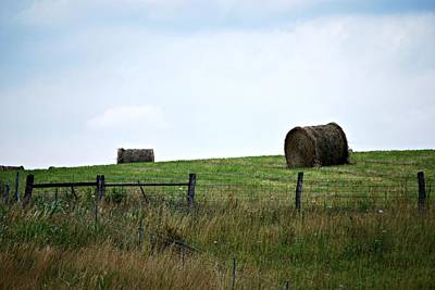 Scenic Haybales #1 Print by Barbara Woodson
