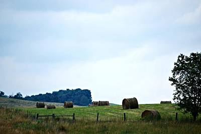 Scenic Haybales #2 Print by Barbara Woodson