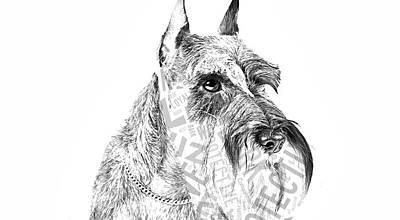Dogs Mixed Media - Schnauzer Portrait by Marvin Blaine