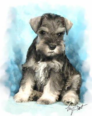 Pup Digital Art - Schnauzer Pup by Maxine Bochnia