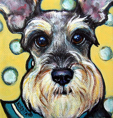 Schnauzer With Polkadots Print by Rebecca Korpita