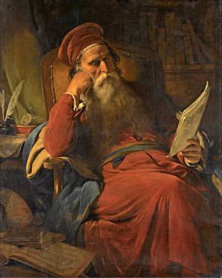 Friedrich Von Amerling Painting - Scholar In His Study by Friedrich von Amerling