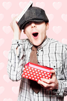 School Boy In Love Holding Valentines Day Present Print by Jorgo Photography - Wall Art Gallery