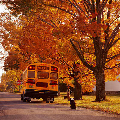 School Bus Photograph - Good Bye Friend I. Vermont by George Robinson