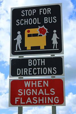 School Bus Stop Print by Robert Hamm