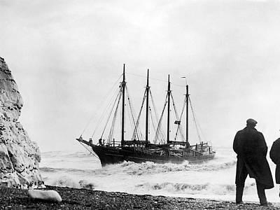Destruction Photograph - Schooner Shipwreck by Underwood Archives