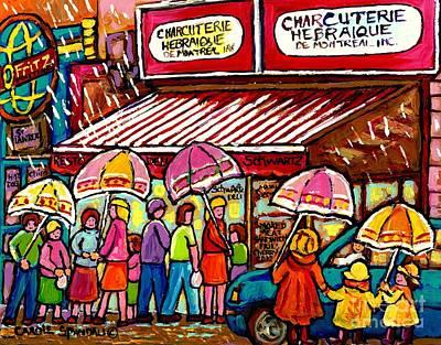 Jewish Montreal Painting - Schwartz's Deli Rainy Day Line-up Umbrella Paintings Montreal Memories April Showers Carole Spandau  by Carole Spandau