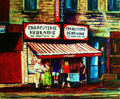 Quebec Streets Painting - Schwartzs Famous Smoked Meat by Carole Spandau