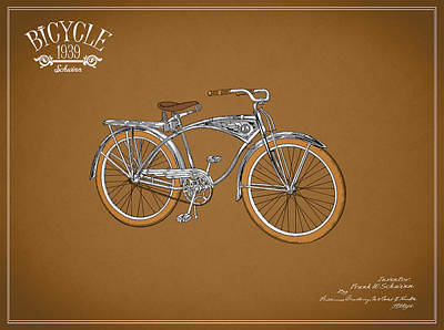 Schwinn Bicycle 1939 Print by Mark Rogan