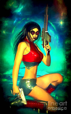 Woman Digital Art - Sci-fi Brunette With Two Guns by Alicia Hollinger