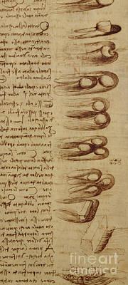 Hammer Drawing - Scientific Diagrams by Leonardo Da Vinci