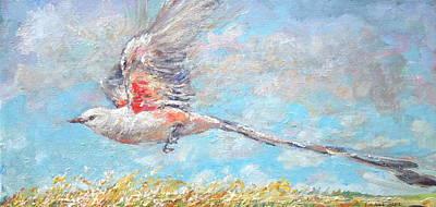 Flycatcher Painting - Scissor Tail Flycatcher Flight by Jimmy Leach