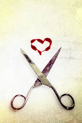 Stain Photograph - Scissors And Heart by Joana Kruse