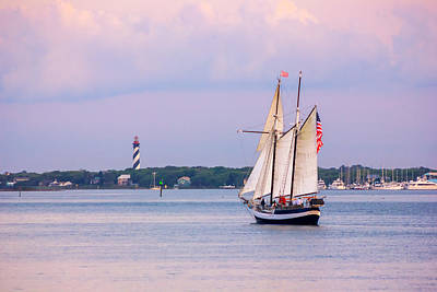 Scooner Freedom Near St. Augustine Lighthouse Print by Rob Sellers