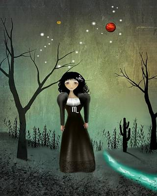 Constellation Digital Art - Scorpio by Charlene Zatloukal