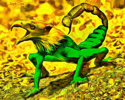 Frog Digital Art - Scorpionfrogbird - Da by Leonardo Digenio