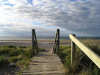 Scotland Findhorn Boardwalk Print by Yvonne Ayoub