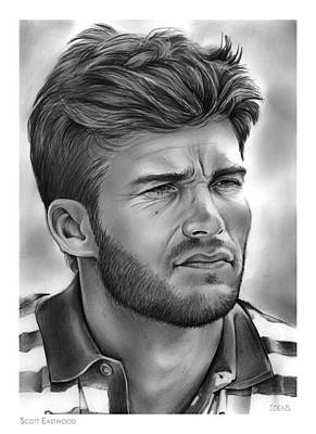 Flag Drawing - Scott Eastwood by Greg Joens