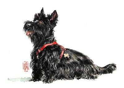 Scottish Dog Painting - Scottie by Debra Jones