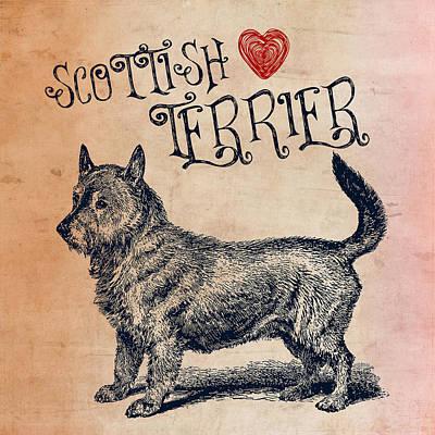 Must Art Mixed Media - Scottish Terrier by Brandi Fitzgerald