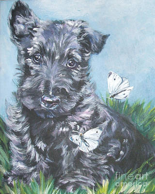 Scottish Dog Painting - Scottish Terrier With Butterflies by Lee Ann Shepard