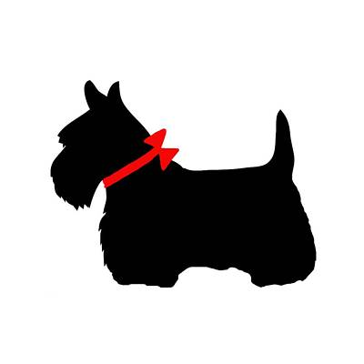 Scotty Dog With Red Bow Print by Marianna Mills