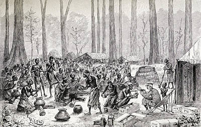Hunger Drawing - Scouts Serving Out Milk And Butter For by Vintage Design Pics