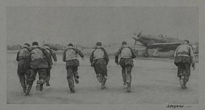 Aviators Drawing - Scramble by Wade Meyers