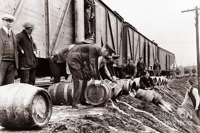 Scranton Police Dumping Beer During Prohibition  Scranton Pa 1920 To 1933 Print by Arthur Miller