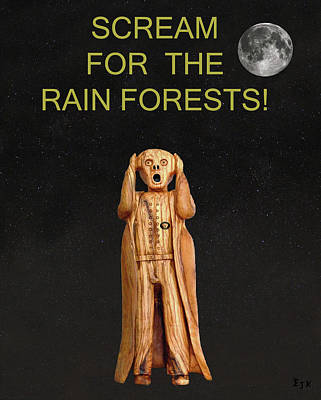 Olive Wood Sculpture Mixed Media - Scream For The Rain Forests by Eric Kempson