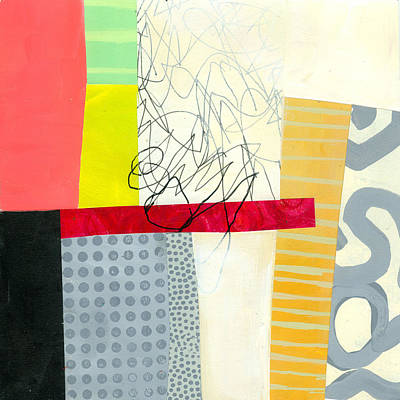 Abstract Collage Painting - Scribbles In The Fog by Jane Davies