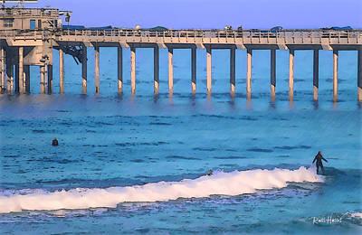 Pier Digital Art - Scripps Pier - Surfing by Russ Harris