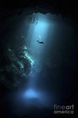 Scuba Diver Descends Into The Pit Print by Karen Doody