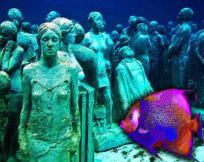 Sculpture Underwater With Bright Fish Painting Musa Original by Tony Rubino