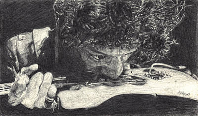 Eric Clapton Drawing - 'scuse Me While I Chew My Strings by Michael Morgan