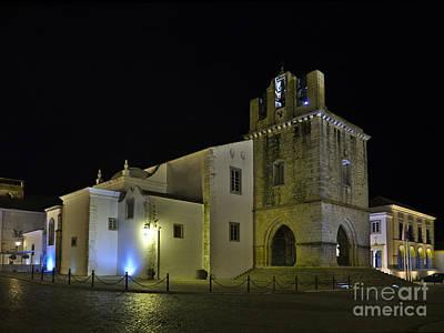 Se Church At Night In Faro Print by Angelo DeVal