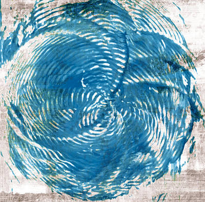 Bath Room Painting - Sea Blue Abstract by Frank Tschakert