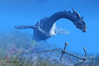 Sea Dragon And Anchor Print by Corey Ford