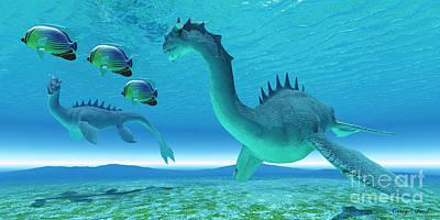 Sea Dragon Fight Print by Corey Ford