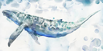 Whale Painting - Sea Giant by Mauro DeVereaux