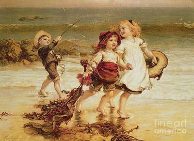 Laughter Painting - Sea Horses by Frederick Morgan
